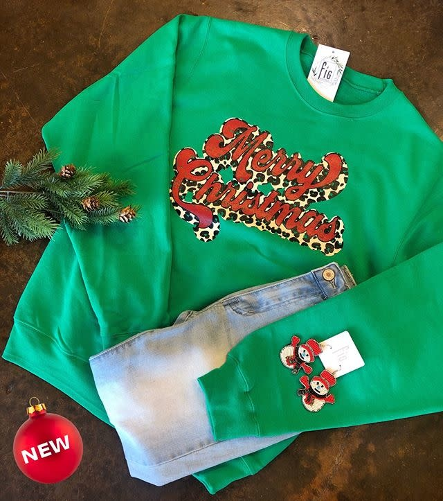Merry Leopard Christmas Sweatshirt