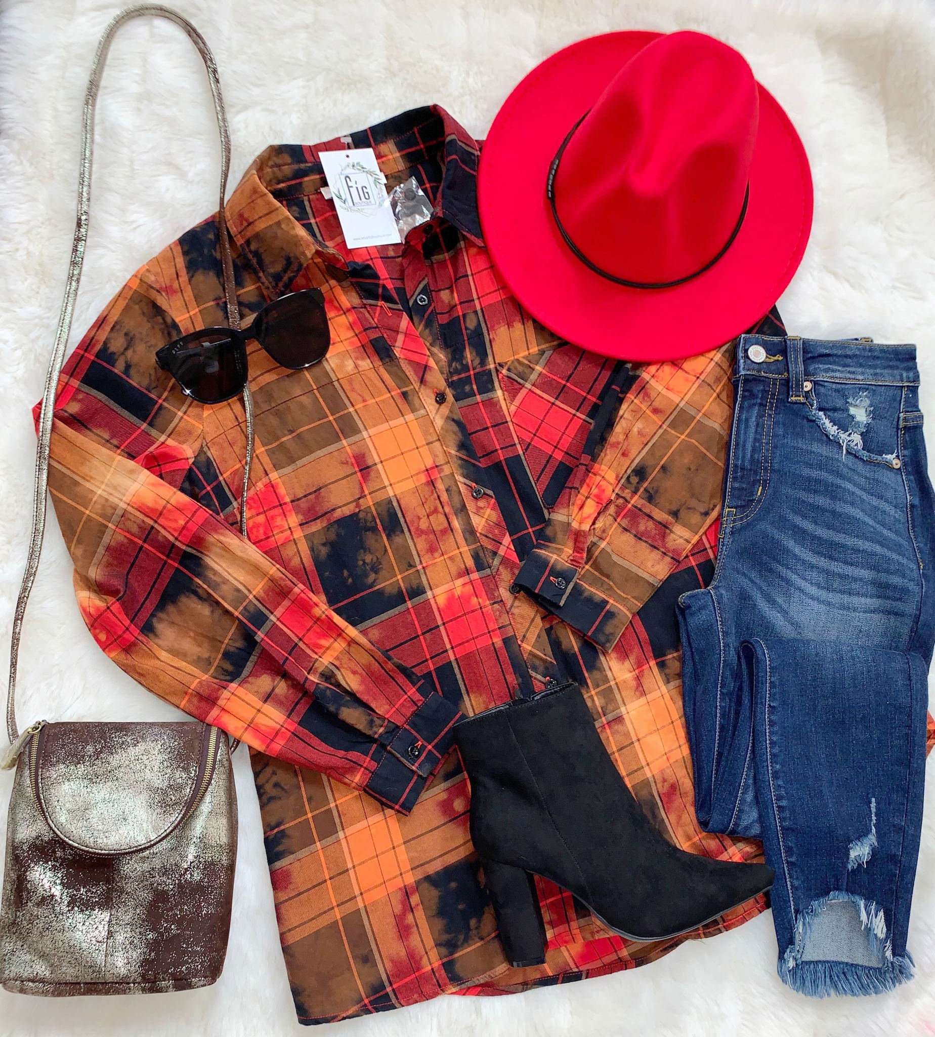 Red Bleached Flannel button front LS