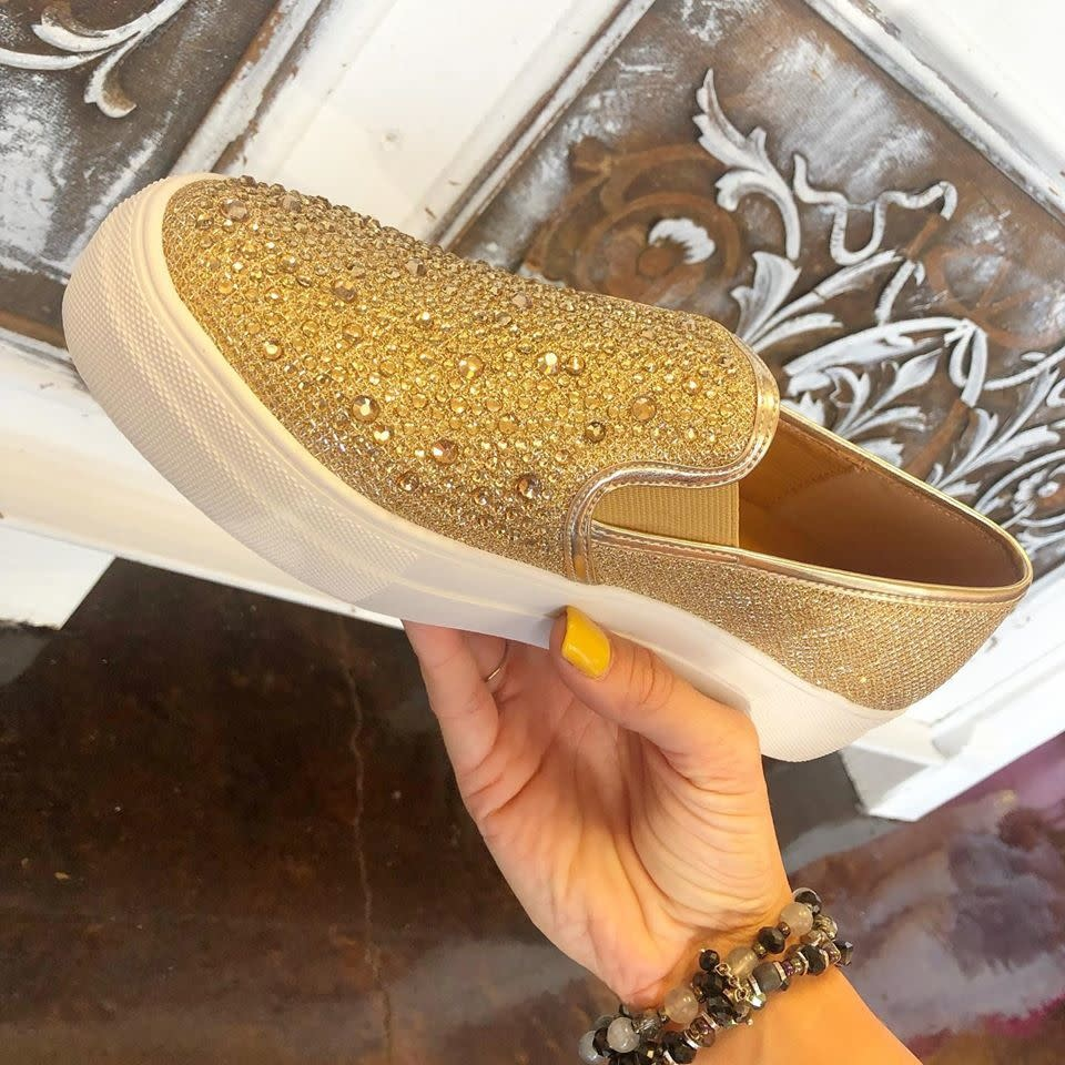 Jewelled Slip on Gold Sneaker