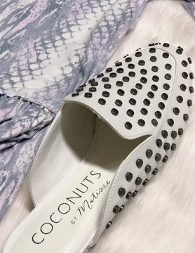 Slip On By Studded White Sandals
