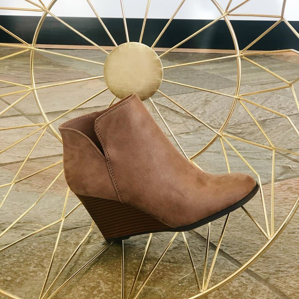 Taupe Wedge Zipper Bootie