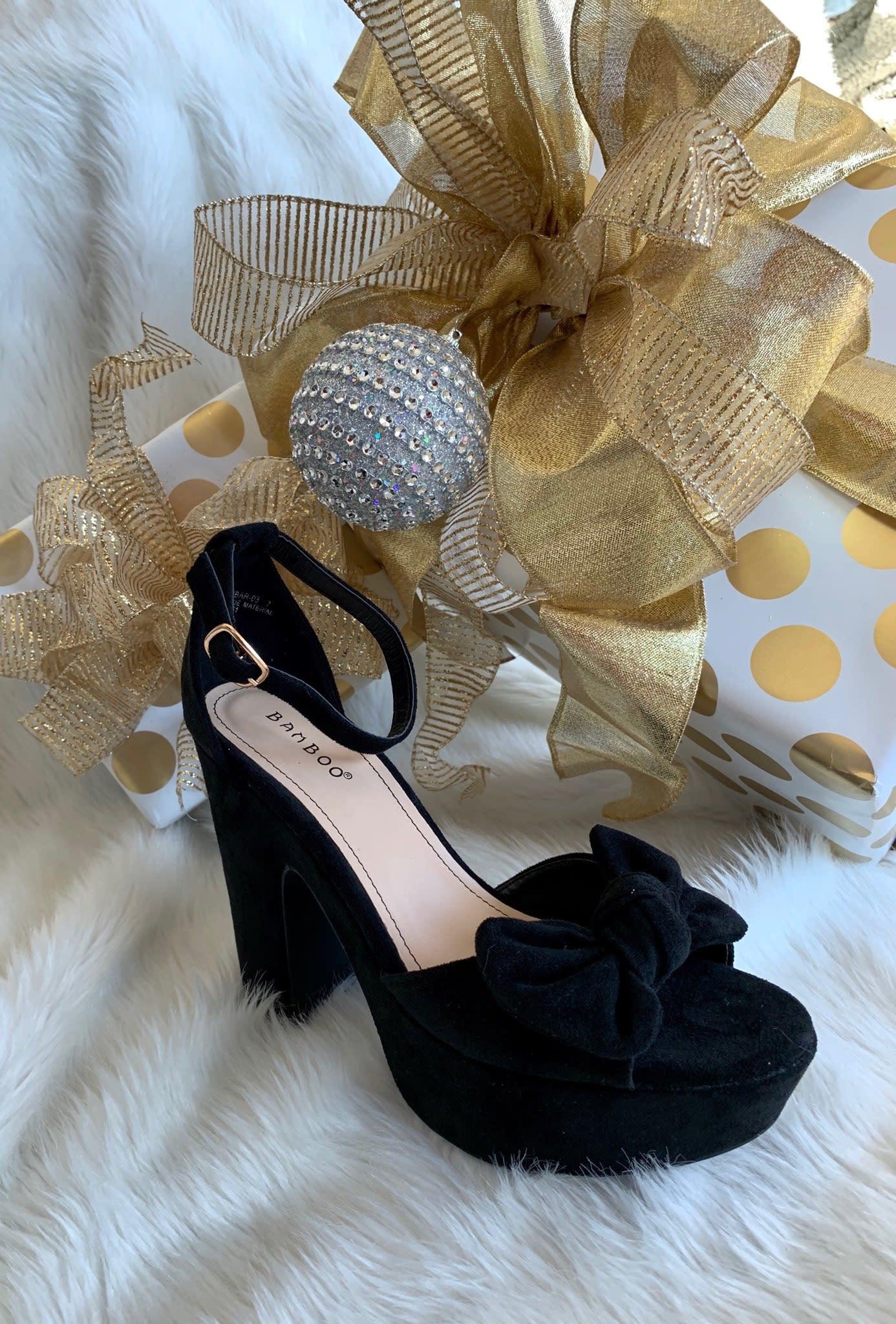 Black Bow Tie Peep Toe Heeled Sandals