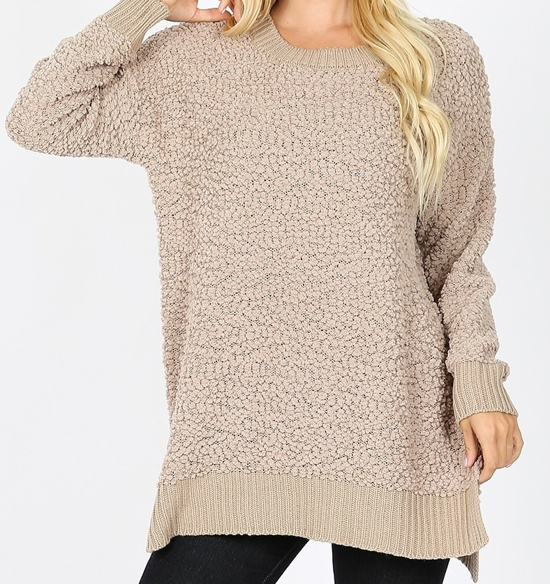 LS Round Neck Popcorn Sweater Hi Low Hem w/ Side Slit