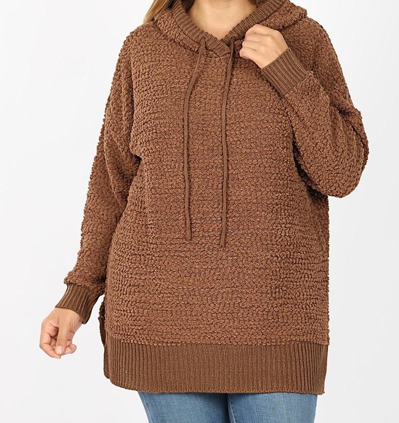 PLUS Hooded LS Popcorn Sweater w/ Side Slits