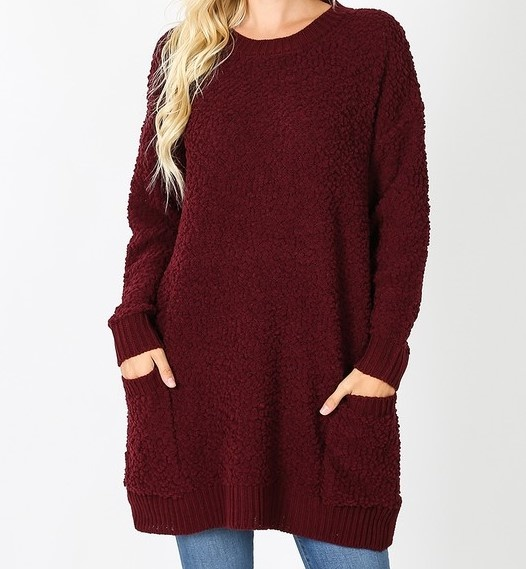 Popcorn Sweater Round Neck Tunic w/ Two Front Pockets