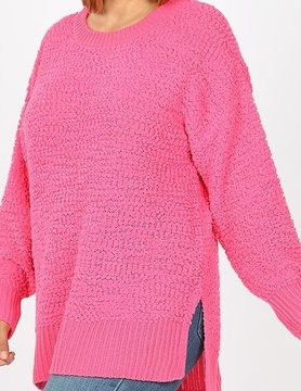 PLUS LS Round Neck Popcorn Sweater Hi Low Hem w/ Side Slit