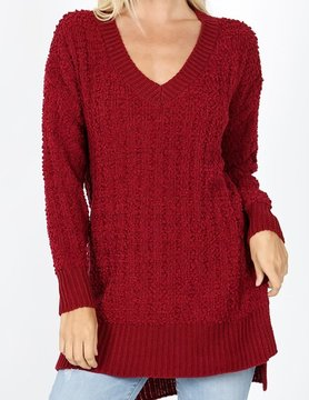 PLUS V Neck Cable Popcorn Sweater Hi Low w/ Side Slit