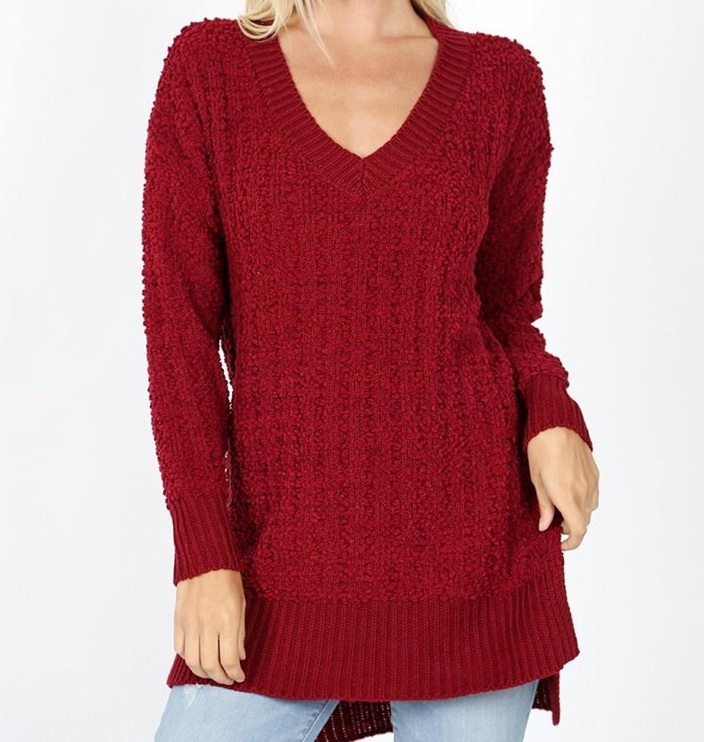 PLUS V Neck Cable Popcorn Sweater Hi Low w/ Side Slit