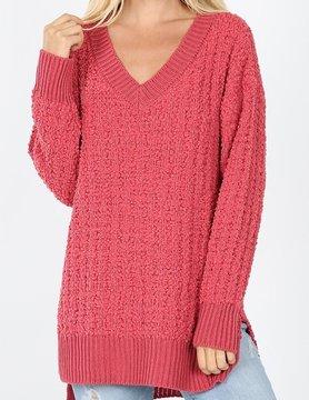 V Neck Cable Popcorn Sweater Hi Low Hem w/ Side Slit