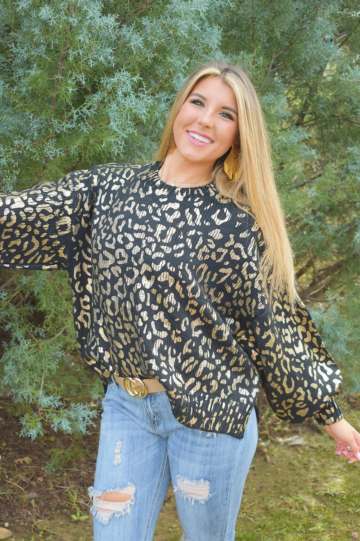 Leopard Print Balloon Sleeve Pullover Sweater