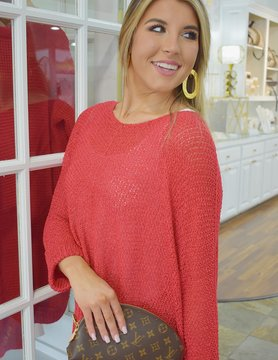 V Neck 3/4 Sleeve Solid Loose Fit Sweater