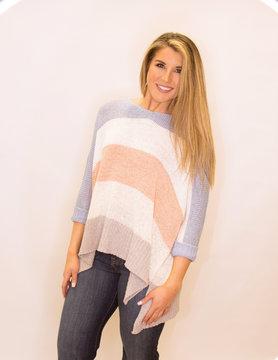 Multi Color Block Boat Neck Knit Sweater