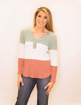 Thermal Waffle Color Block Top w/button