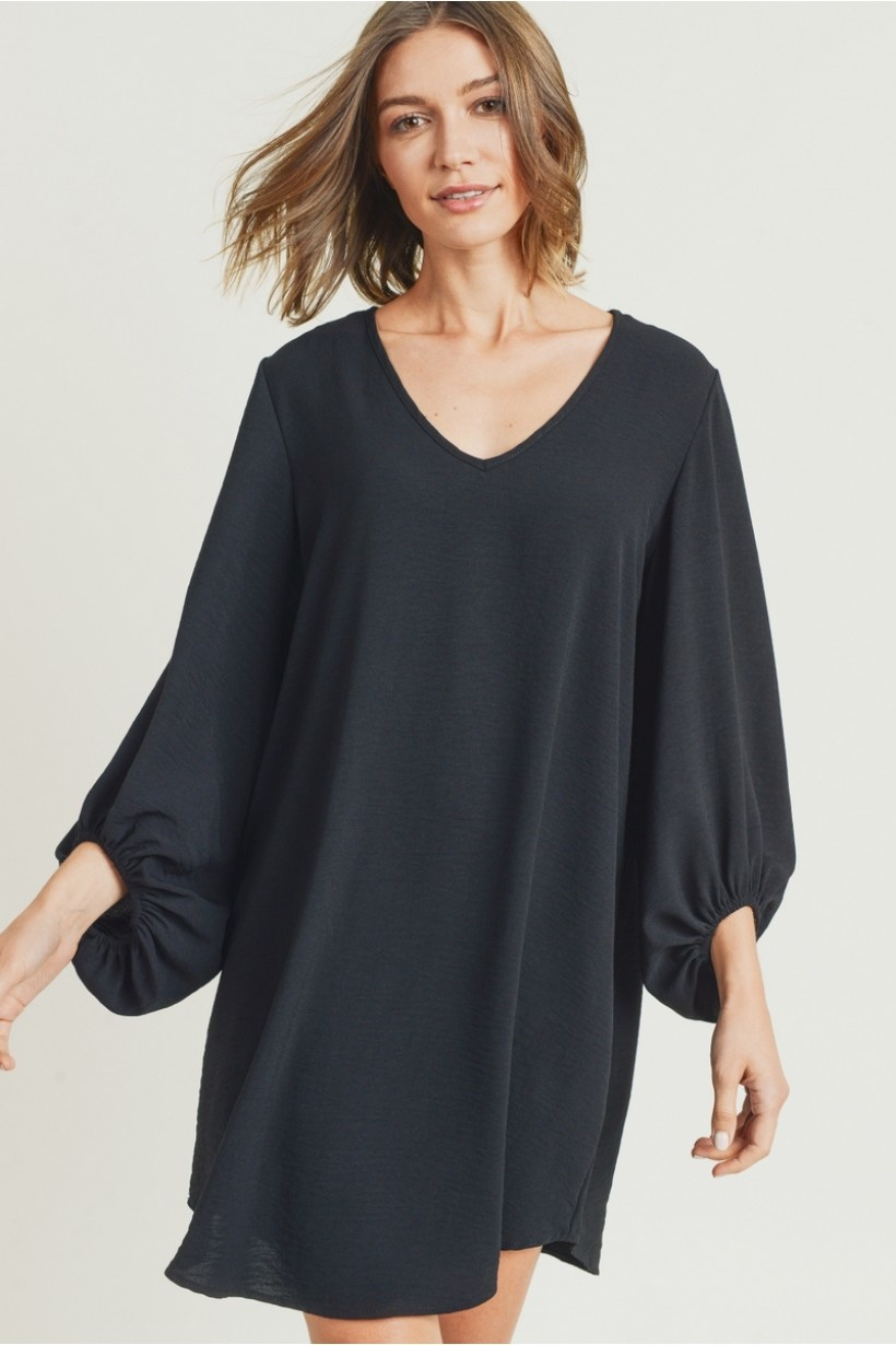 LS V Neck Elastic Sleeve Dress