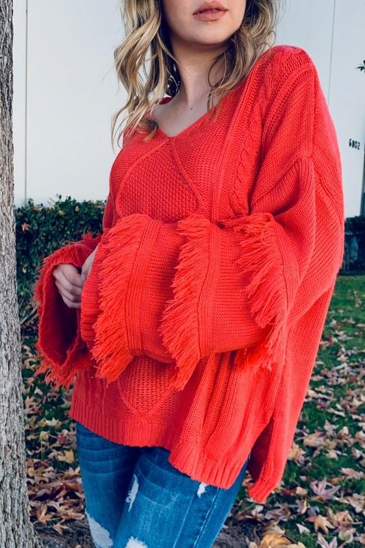 Fringe Sleeve Detail V Neck Sweater