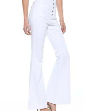 High Rise Five Button Super Flares White