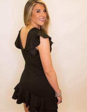 Ruffle SS Round Neck Dress