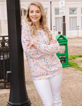 Leopard Round Neck Candy Print Top