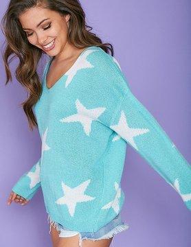 LS V Neck Star Printed Sweater