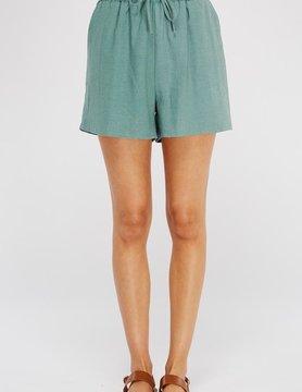 Smocked High Waist Linen Shorts w/ Pockets