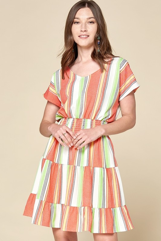 PLUS Stripe Linen V Neck SS Dress w/ Smocked Waist & Tiered Skirt