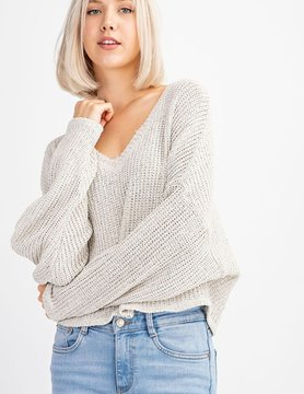 V Neck Knit LS Sweater