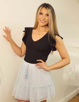 Tassel Merrow Stitch Ruffle Detail Dot Printed Skirt