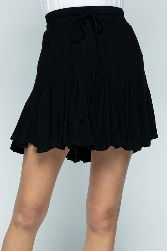 Ruffle Pleat Mini Skirt