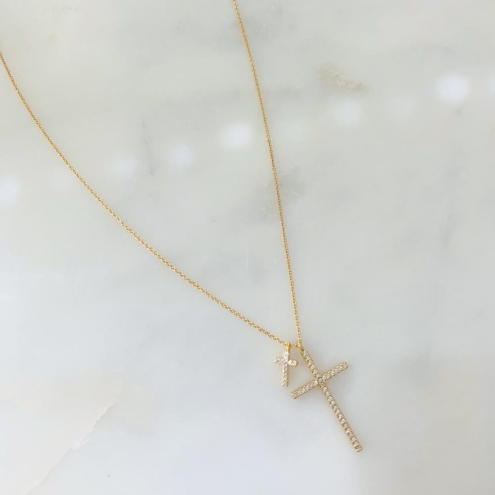 Double Cross Necklace - Gold