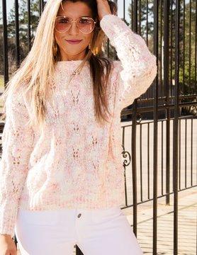 Blush Multi Colored Knit Pullover Sweater