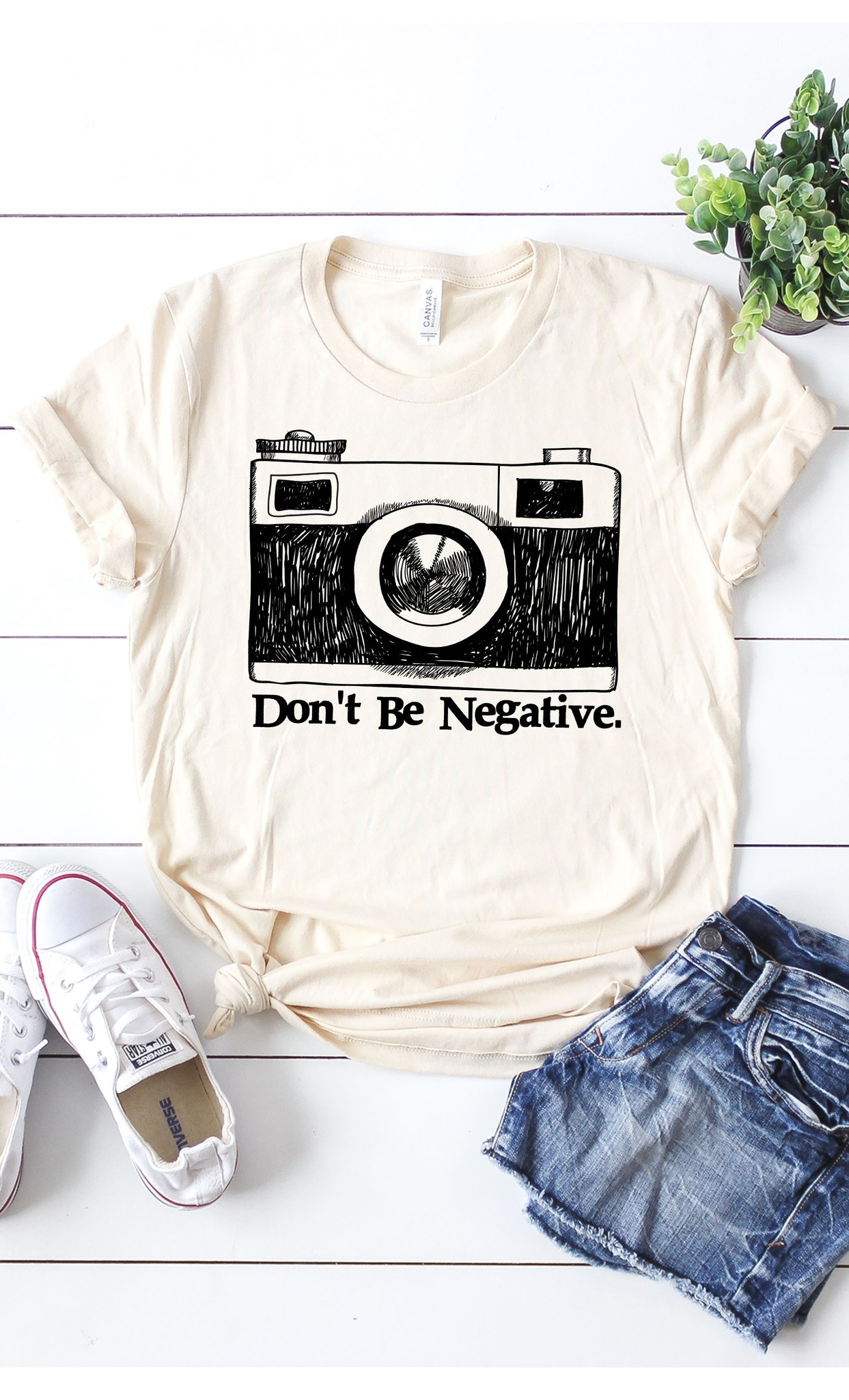 Don't Be Negative Camera Tee