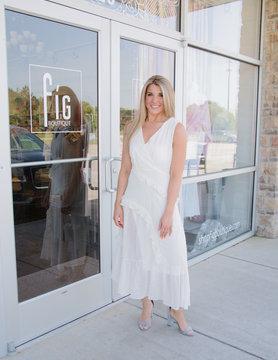 Longline Dot Detail V Neck Sleeveless Dress