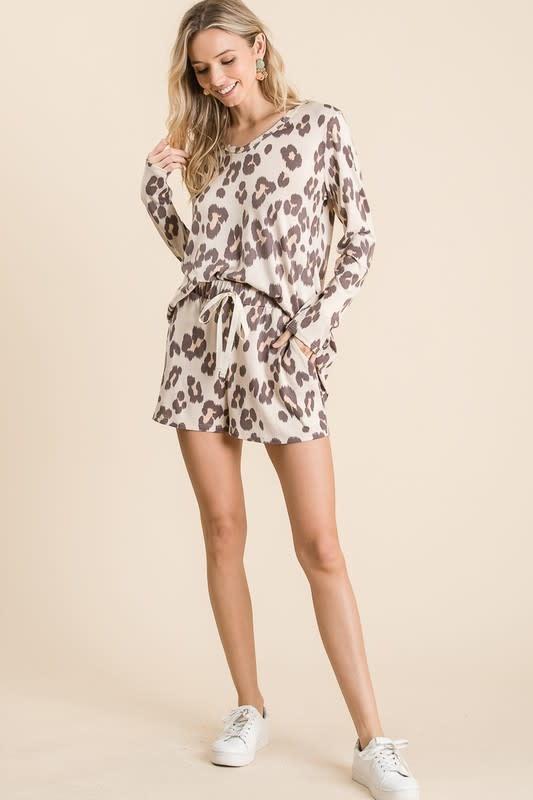 Leopard Print Shorts w/ Twill Drawstring