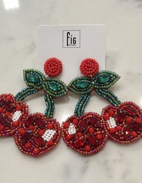 Cluster Beaded Cherry Dangle Earring