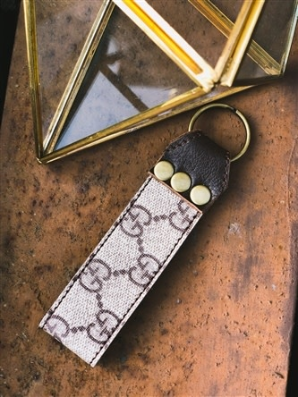 Repurposed Gucci Leather Keychain