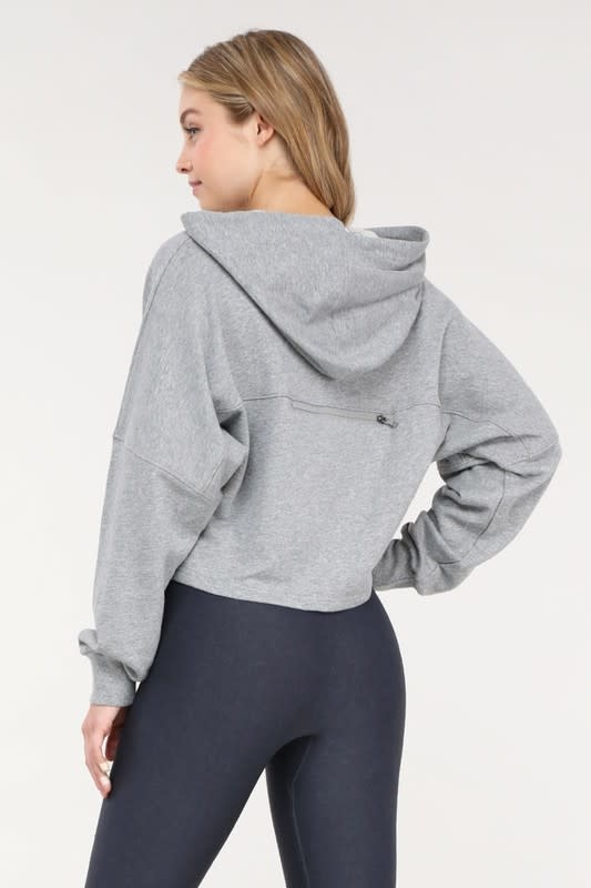 Crop Hoodie Pullover W/ Zippered Back Pocket