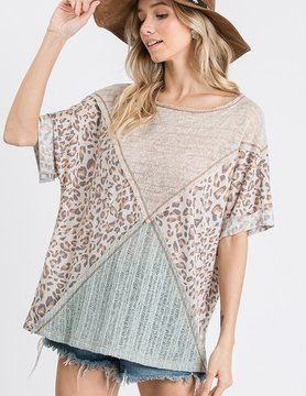 Solid Sheer Knit Fabric & Animal Mixed Top