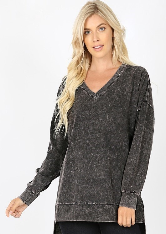 PLUS Mineral Wash LS V Neck Hi Low Top