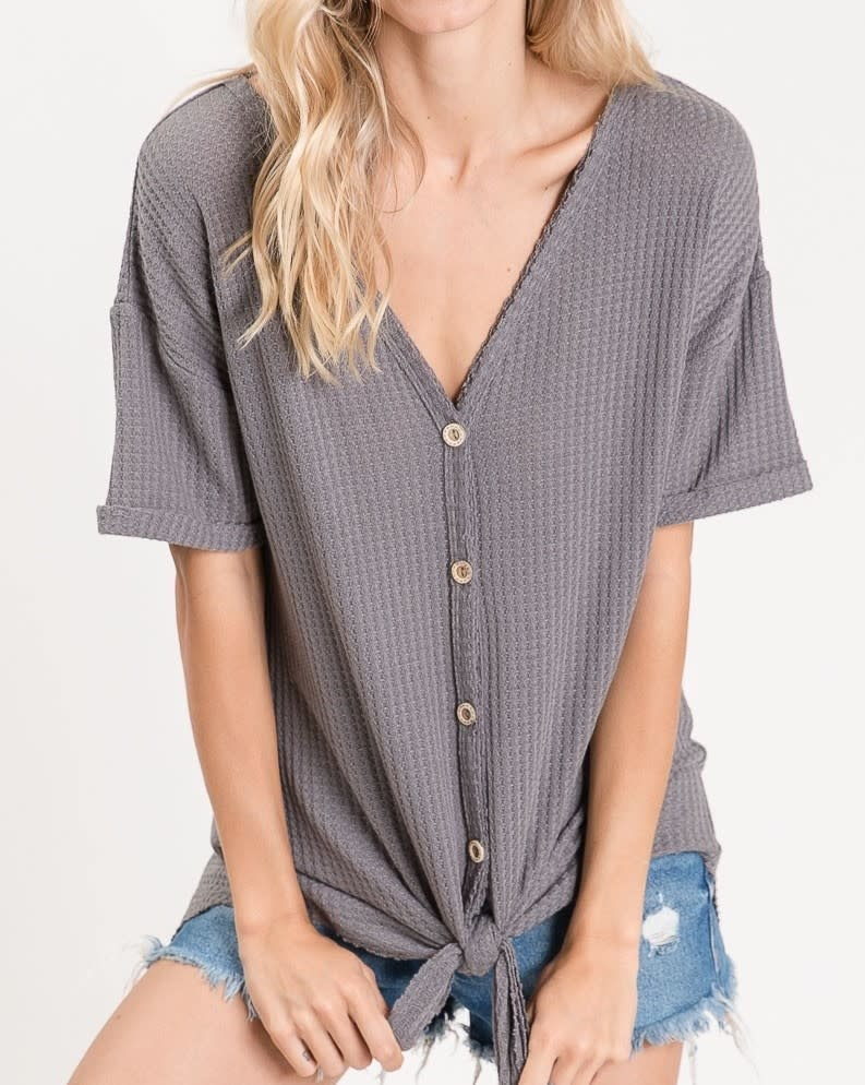 Thermal Waffle SS Buttoned Front Knit Top