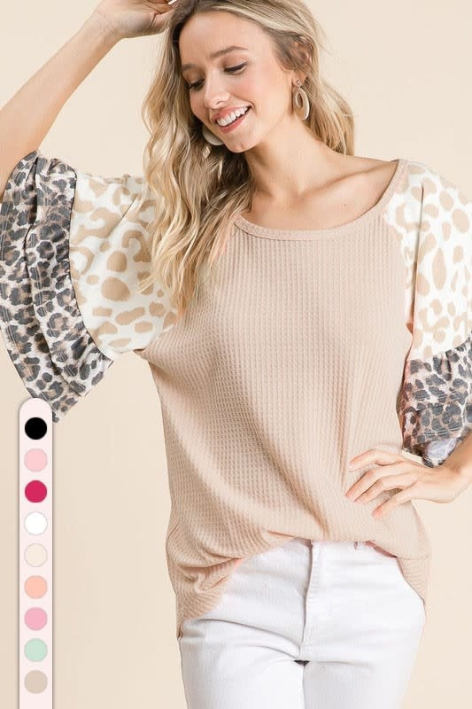 Thermal Waffle Knit Top w/ Leopard Bell Sleeves