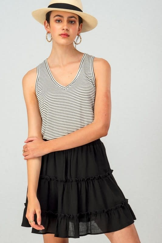 Gauze Tiered Elastic Waist Mini Skirt