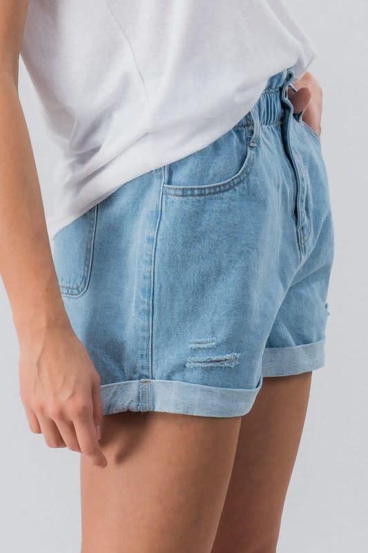 Vintage Wash Distressed Denim High Waist Shorts