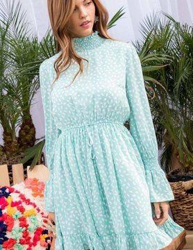 Smocking Neck Long Smocking Ruffle Sleeve Waist Elastic Back Zipper Print Dress