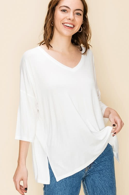 3/4 Sleeve Dropped Shoulder Top