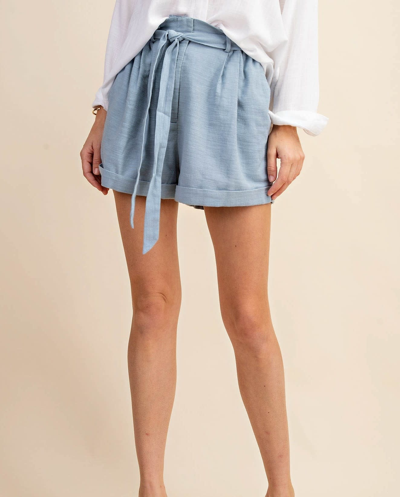 Textured Sugarbag Bottom Turn Up Shorts