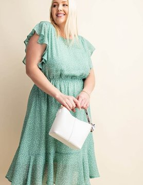 PLUS Lovely Button Down Linned Chiffon Dress