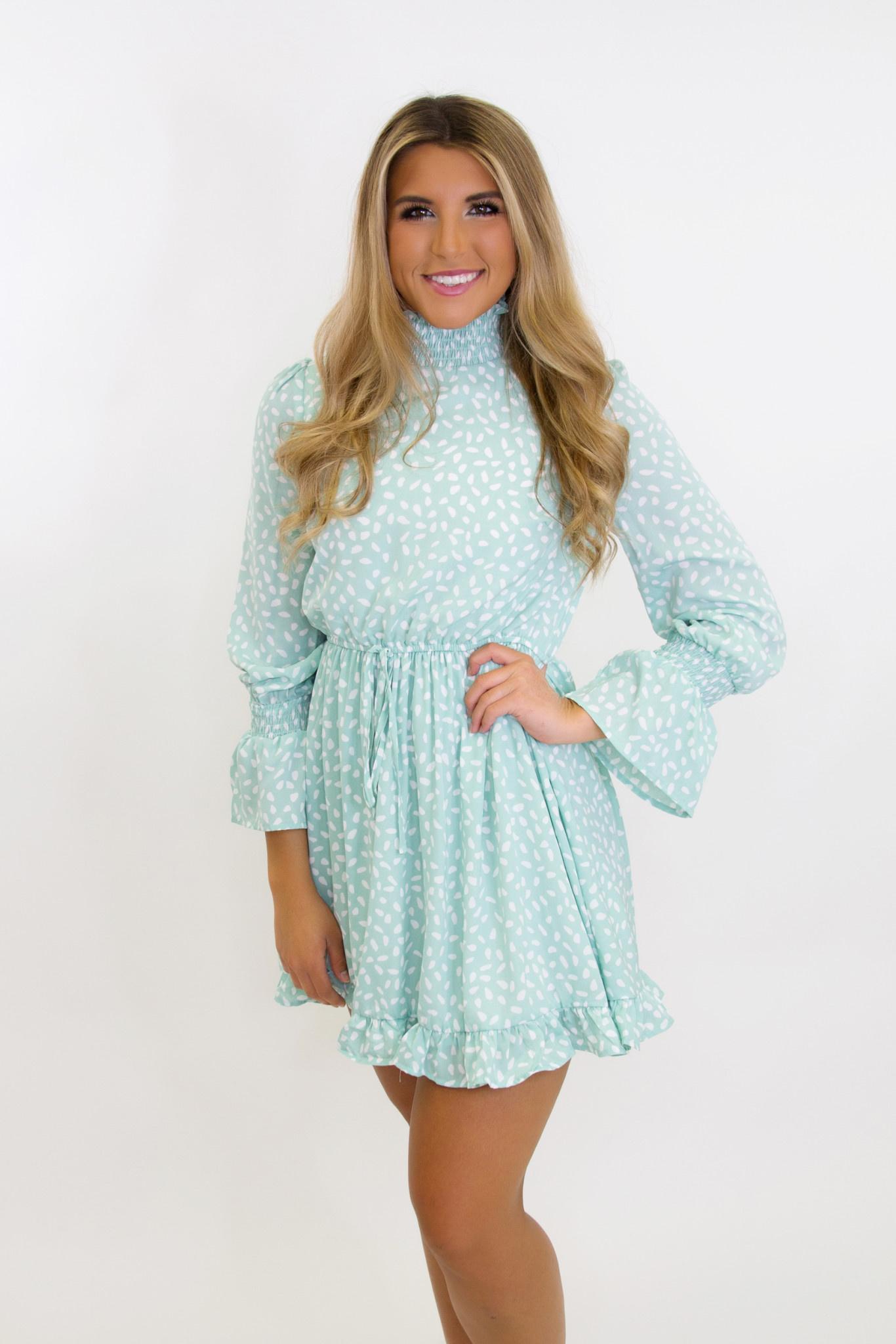 Smocking Neck Long Smocking Ruffle Sleeve Waist Elastic Back Zipper Print Dress