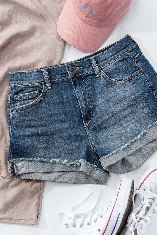 Denim Jean Shorts Folded Hem