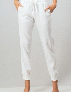 Rib Side Drawstring Linen Jogger Pants