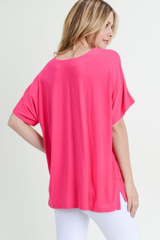 Oversized Deep V Neck Top